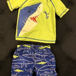 Baby shark rash guard and matching bathing suit